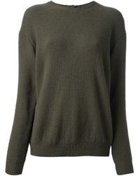 N°21 - Green Embellished Split Back Sweater - Lyst