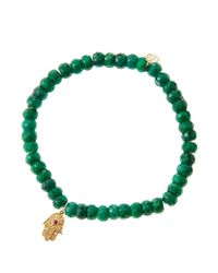 Sydney Evan | Green Emerald Rondelle Beaded Bracelet With 14K Gold Hamsa Charm (Made To Order) | Lyst