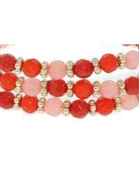 1928 | Red Tangerine Dreams Bead Triple Row Bracelet | Lyst