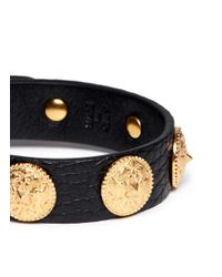 Valentino | Black Gryphon Stud Leather Bracelet | Lyst