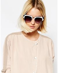 ASOS Black Cat Eye Sunglasses In Mono With Metal Corner Detail