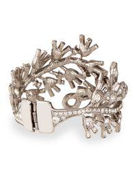 Oscar de la Renta Metallic Floral Baguette Crystal Bracelet