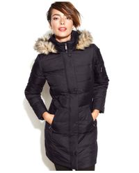 DKNY Black Petite Hooded Faux-Fur-Trim Quilted Long-Length Down Coat