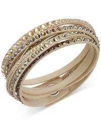 Swarovski - Metallic Golden Fabric Crystal Stud Wrap Bracelet - Lyst