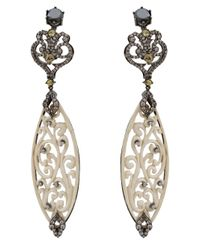 Bochic - White Carved Diamond Marquis Fossilised Woolly Mammoth Earrings - Lyst