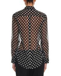 Elizabeth and James Black Emmanuelle Polka-Dot Silk-Chiffon Shirt