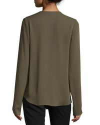 Theory - Green Meniph Long-sleeve Silk Top - Lyst