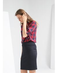 Mango - Blue Stripe Textured Skirt - Lyst