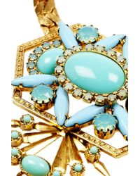 Elizabeth Cole | Metallic Gold-plated, Cabochon And Crystal Necklace | Lyst