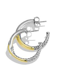 David Yurman | Yellow Labyrinth Hoop Earrings With Diamonds & Gold | Lyst