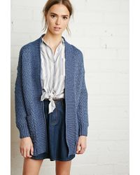 Forever 21 | Blue Textured Open-front Cardigan | Lyst
