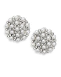 Ak Anne Klein | Faux Pearl & White Stone Disc Clip Earrings | Lyst