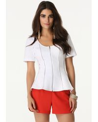 Bebe White Zip Front Fitted Top