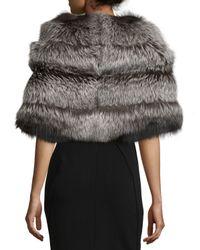 Gorski Metallic Fox Fur Stole W/leather