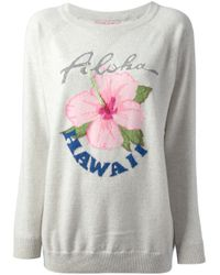 Queene And Belle Natural Aloha Hawaii Printed Sweater