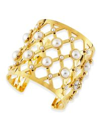 Tory Burch | Yellow Wide Lattice & Pearly Cuff | Lyst