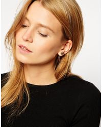 ASOS - Metallic Angled Heart Stud Earrings - Lyst