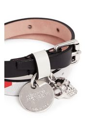 Alexander McQueen | Multicolor Skull Charm Double Wrap Kansai Print Leather Bracelet | Lyst