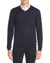 Ted Baker Blue 'batatak' Slim Fit Merino Wool V-neck Sweater for men