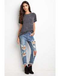 Forever 21 - Gray Heathered Pocket Tee - Lyst
