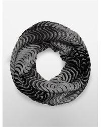 Calvin Klein | Black White Label Wave Stitch Infinity Scarf | Lyst