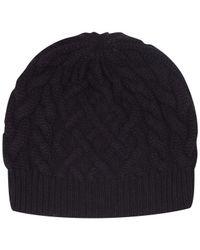Johnstons Purple Cable Knit Cashmere Beanie Hat