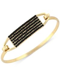 BCBGeneration | Black Gold-tone Beaded Bangle Bracelet | Lyst