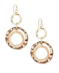 Saks Fifth Avenue | Metallic Triple-ring Earrings | Lyst