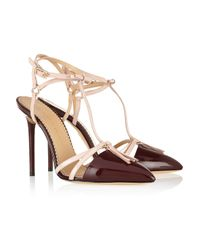 Charlotte Olympia Red Trixy Patent-Leather T-Bar Pumps