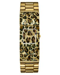 Guess - Metallic Watch Womens Gold-tone and Animal Print Polycarbonate Bracelet 24mm - Lyst