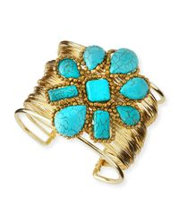 Panacea | Blue Turquoise Flower Wire Cuff Bracelet | Lyst