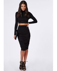 Missguided - Roll Neck Long Sleeve Crop Top Black - Lyst