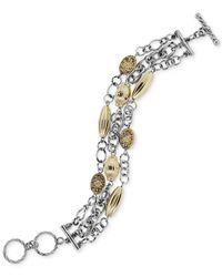 2028 - Metallic Two-Tone Three-Row Chain Toggle Bracelet - Lyst