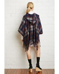 Forever 21 | Black Hooded Plaid Poncho | Lyst