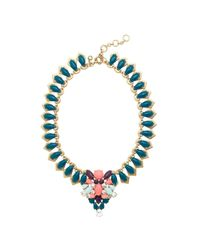 J.Crew - Green Stone Medallion Necklace - Lyst
