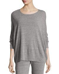 Natori - Gray Cosi Heathered Long-sleeve Top - Lyst