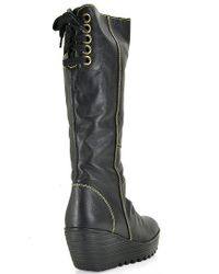 Fly London - Black Yust Leather Wedge Boots - Lyst
