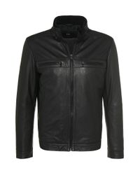 BOSS Black Leather Jacket In Goatskin: 'almeo' for men