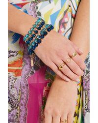 Etro - Blue - Beaded Gold-plated Swarovski Crystal Bracelet - Turquoise - Lyst