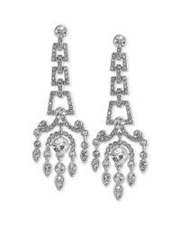 Carolee | Metallic Silvertone Crystal Large Chandelier Earrings | Lyst