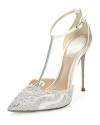 Rene Caovilla - White Crystal-Embellished T-Bar Pumps - Lyst
