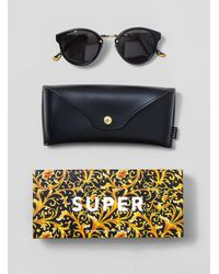 Retrosuperfuture Black Panama Print Maiolica Gold Sunglasses for men
