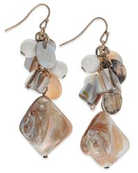 INC International Concepts | Metallic Gold-tone Neutral Multi-bead And Shell Drop Earrings, Only At Macy's | Lyst