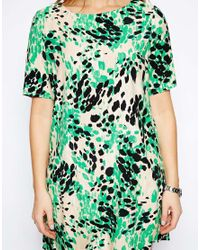 ASOS - Green Shift Dress In Animal Print - Lyst