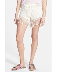Mimi Chica - White Fringe Crochet Shorts - Lyst