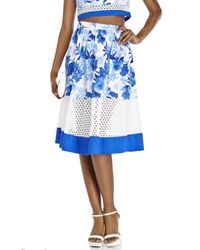 Do+Be Collection - Blue Floral Print Eyelet Midi Skirt - Lyst