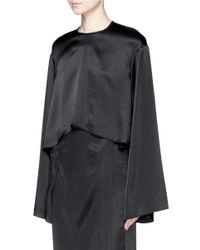 Ellery Black 'protégé' Wide Sleeve Crepe Cropped Top