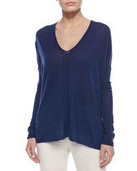 VINCE | Blue Lightweight Knit V-neck Top | Lyst