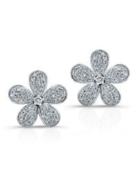 Anne Sisteron | 14kt White Gold Diamond Flower Earrings | Lyst