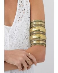 Forever 21 Metallic Elephant Floral Etched Arm Cuff